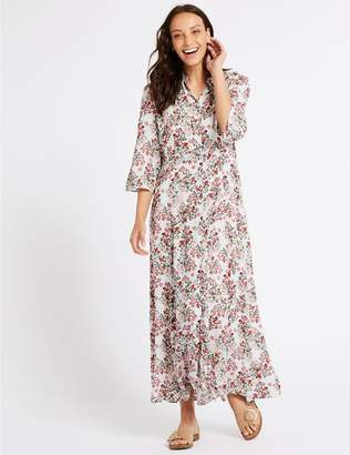 Marks and Spencer Floral Print 3/4 Sleeve Shirt Maxi Dress