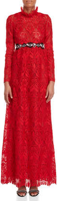 Giamba Red Long Sleeve Lace Gown