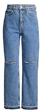 Sandro Women's H18 Fluffy Distressed Jeans