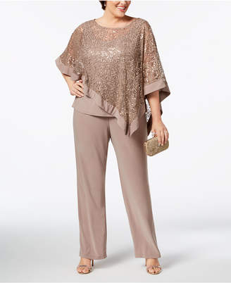 R & M Richards Plus Size Sequined Lace Pantsuit