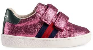 Gucci Toddler glitter sneaker with Web