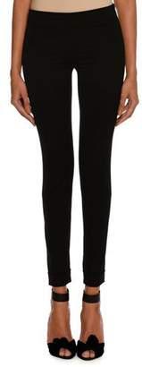Tom Ford Wool Gabardine Stretch Ankle-Zip Leggings, Black