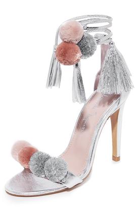 Alameda Turquesa Anna Pom Pom Wrap Sandals $501 thestylecure.com
