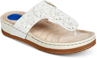 White Mountain Cliffs by Cardella Thong Wedge Sandals Women's Shoes