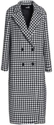 Love Moschino Double-Breasted Houndstooth Tweed Coat
