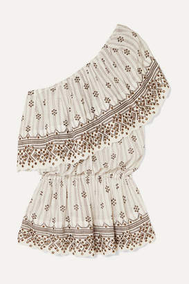 Isabel Marant Astrid One-shoulder Tiered Embellished Printed Cotton-gauze Top - White