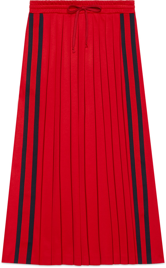 Pleated technical jersey skirt