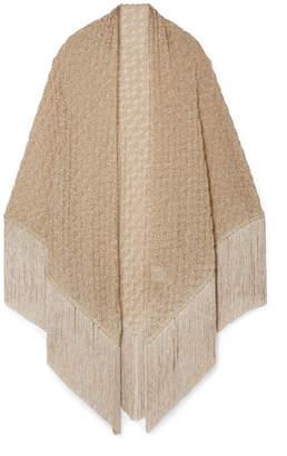 Missoni Fringed Metallic Crochet-knit Wrap - Gold