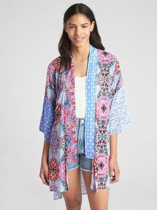 Gap Midi Mix-Print Kimono Topper Jacket
