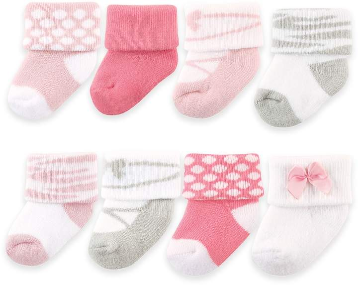 BabyVision Luvable Friends Size 0-9M 8-Pack Ballet Socks in Pink/Grey