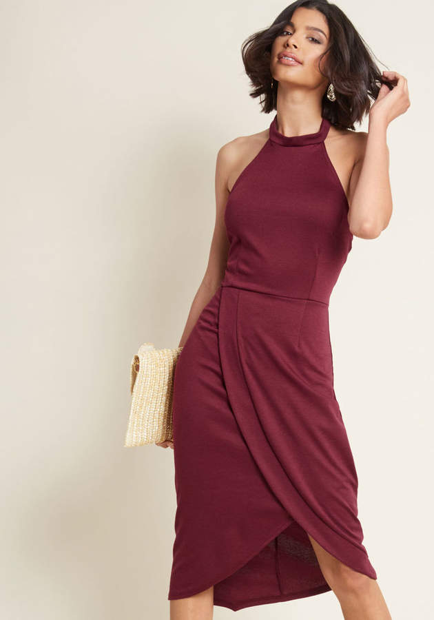 Exceptional at All Angles Sheath Dress in Burgundy in 2X - Sleeveless Midi