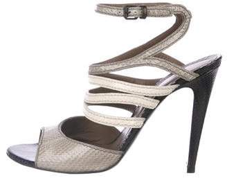 Bottega Veneta Snakeskin Ankle Strap Sandals