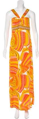 Trina Turk Abstract Print Silk Maxi Dress