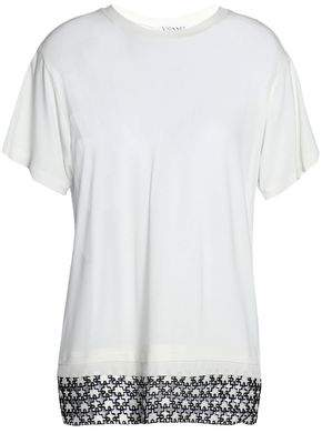 Vionnet Lace-Paneled Crepe And Cotton-Jersey T-Shirt