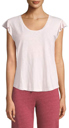 Sundry Flutter-Sleeve Cotton Scoop-Neck Tee