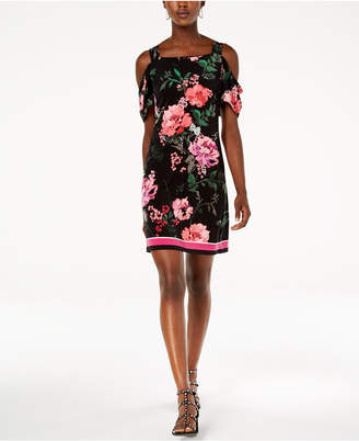 INC International Concepts I.N.C. Printed Cold-Shoulder Dress, Created for Macy's