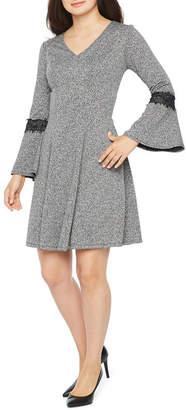 Robbie Bee Long Sleeve Fit & Flare Dress