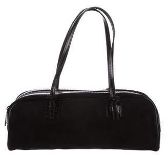 Fendi Leather-Trimmed Suede Handle Bag