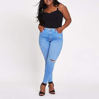 River Island Plus blue Harper high rise super skinny jeans