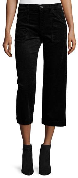 7 For All Mankind7 For All Mankind Wide-Leg Velvet Culottes, Black