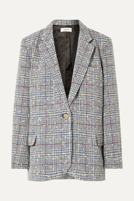 Etoile Isabel Marant Kice Checked Wool-blend Bouclé Blazer - Light blue