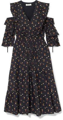 Sea Cold-shoulder Floral-print Cotton-dobby Dress