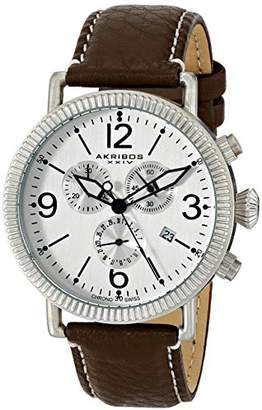 Akribos XXIV Men's AK753SS Swiss Chronograph Quartz Movement Watch with Silver Matte Dial and Brown with Cream Stitching Leather over Nubuck Strap