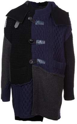 Sacai longline patchwork cardigan