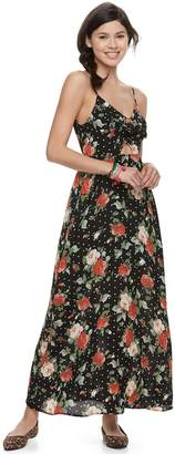 Trixxi Juniors' Floral Cutout Front Maxi Dress