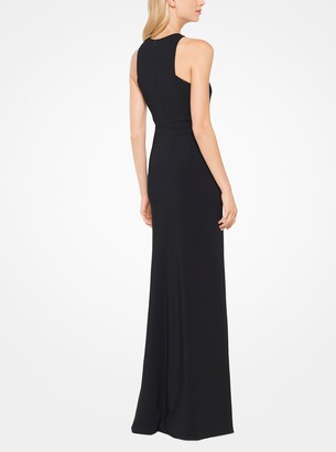 Michael Kors Stretch-Cady Halter Gown