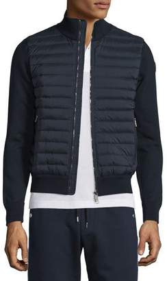Moncler Quilted Jersey Track Jacket with Nylon Front, Navy $765 thestylecure.com