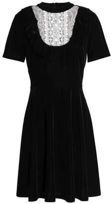 Sachin + Babi Lace-Paneled Velvet Mini Dress