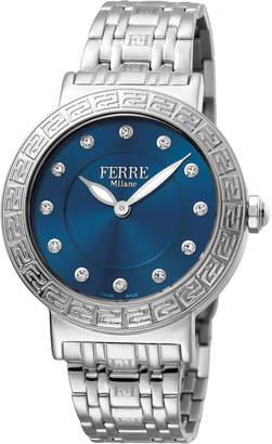 Ferré Milano Women's 38mm Stainless Steel Watch with Bracelet, Steel/Blue
