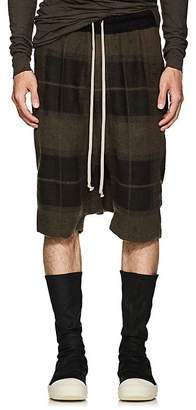 Rick Owens Men's Pod Plaid Linen-Camel Hair Drop-Rise Shorts