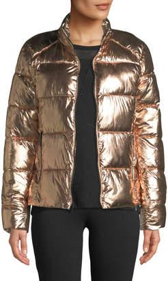Marc Ny Performance Zip-Front Metallic Super Puffer Jacket