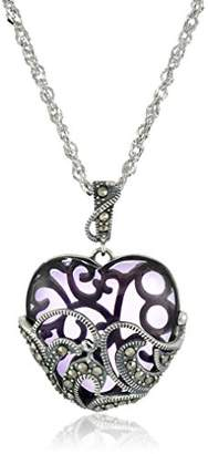 Glass Heart Sterling Silver Oxidized Genuine Marcasite and Amethyst Colored Pendant Necklace