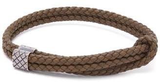 Bottega Veneta Double Intrecciato Woven Leather Bracelet - Mens - Khaki