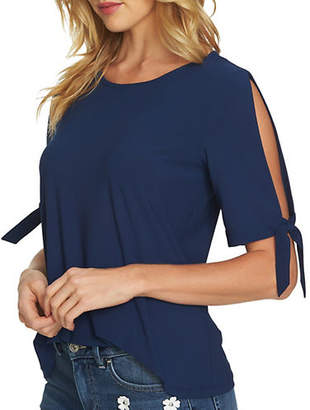 CeCe Mixed Media Tie-Sleeve Knit Top
