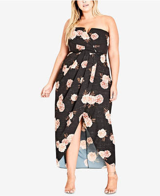 City Chic Trendy Plus Size Strapless Rose-Print Maxi Dress