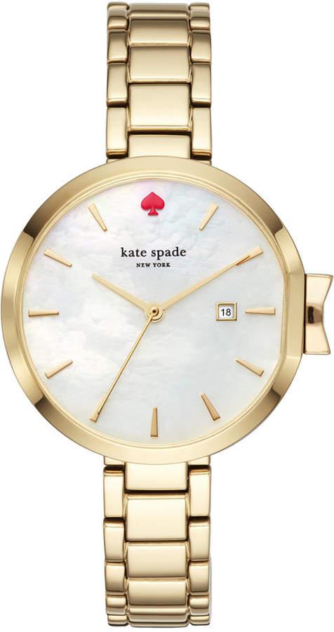 Kate Spadekate spade new york Women's Park Row Gold-Tone Stainless Steel Bracelet Watch 34mm KSW1266