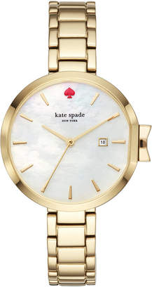 kate spade new york Women's Park Row Gold-Tone Stainless Steel Bracelet Watch 34mm KSW1266 $225 thestylecure.com