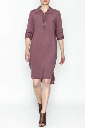 AAKAA Lace Up Midi Dress