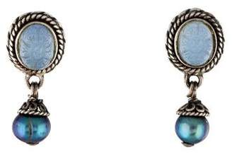 Stephen Dweck Pearl & Chalcedony Drop Earrings