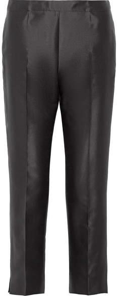 Prada - Cropped Wool And Silk-blend Straight-leg Pants - Black