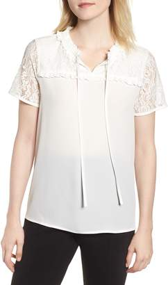 Karl Lagerfeld Paris Lace Yoke Tie Neck Blouse
