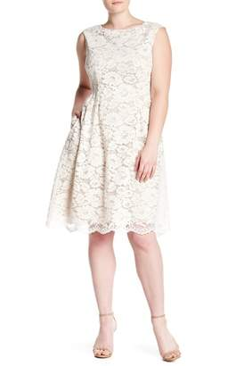 Vince Camuto Lace Fit & Flare Dress (Plus Size)