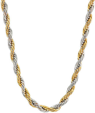 FINE JEWELRY Mens Two-Tone Stainless Steel 24 Rope Chain Necklace