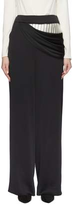 Monse Pinstripe panel ruched drape wide leg pants