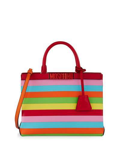 Moschino Moschino Striped Leather Logo Tote Bag, Multi