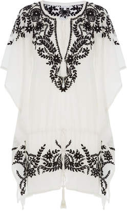 Yumi Star Embroidered Cotton Tunic Dress